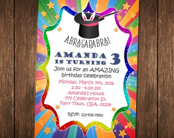 Magic Party Invitation, Magic Birthday Invitation, Magic Invitation Printable, Magic Digital Invite, Magical Birthday, Magical Party