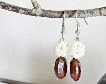 Acrylic earrings, pendant earrings, brown, white beaded ball, berry earrings
