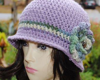 Handmade Crochet, Flapper, Bucket, Cloche Hat 22 to 23 inch purple