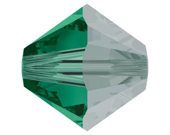 Emerald Satin - 4mm, 5mm, 6mm - Swarovski Crystal Bicone - 5301 - 5328