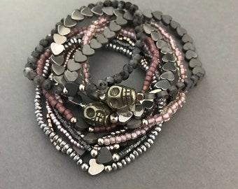 Lavender Skull Bracelet Stack, Plath Silver Bracelet 10 Stack, Heart Bracelet Stack, Purple and Silver Bracelet Stack, Gifts for Her