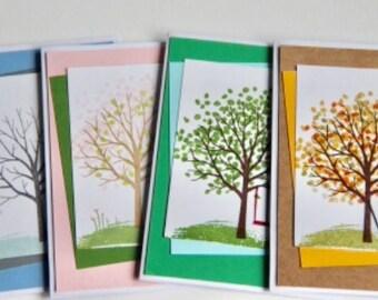 4 Seasons of Trees Card Set. Seasonal Tree Greeting Cards. Handmade Winter Spring Summer Fall Greeting Card Set.  Tree Gift