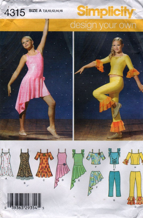 Simplicity 4315 Girls DANCE COSTUME Pattern Tops Pants Skirts ...