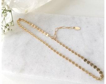Celia Choker,layered choker,Gold Coin Choker,Gold Coin Necklace,Gold Choker