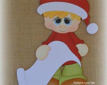 Christmas Santa List boy Premade Scrapbooking Embellishment Paper Piecing