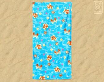Magikarp Pattern BEACH TOWEL 'Bubble Beach' // Pokemon // Krabby Staryu // Water Type // Summer Vacation // Gamer Gifts