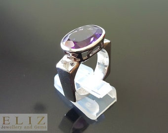 Genuine African AMETHYST Sterling Silver Geometric Ring Handmade UNIQUE Size 9