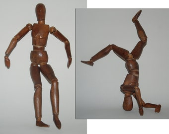 Genuine Vintage Wooden Artist's Model (Artist Lay Figure, Posing Model) -- Free Shipping!