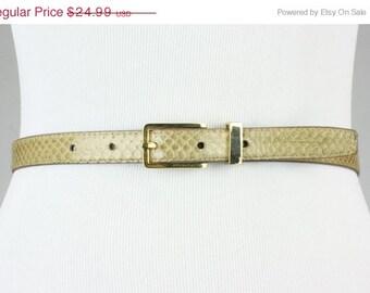 ON SALE Vintage 80s Tan Snakeskin Leather Belt Sleek Gold Buckle 24-28 XS/S