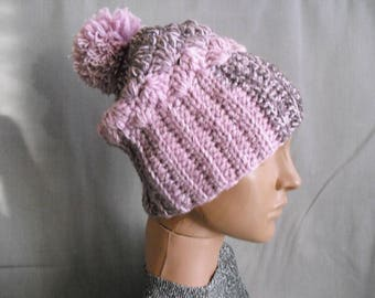pom pom hat. knit hat with pom pom. dusty rose color. winter accessories. wool beanie women's girls hat pink with real fur pom poms