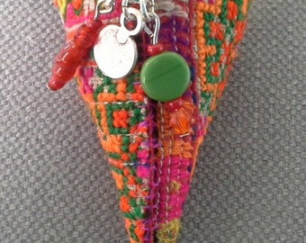 Textile necklace/pendant. Bohemian spirit. Warm and bright colors.