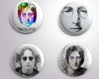 4 JOHN LENNON IMAGINE pins / buttons / magnets - Music - Different options