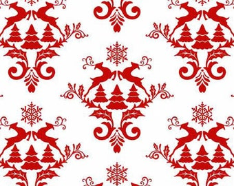 Winter Essentials 3 - Red on White Damask from Studio E