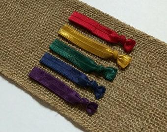 Rainbow Hair Tie Set   Elastic Hair Tie   Creaseless Hair Tie   Dark Hair Ties   Hair Tie Favor   FOE Hair Tie   Hair Tie Bracelet