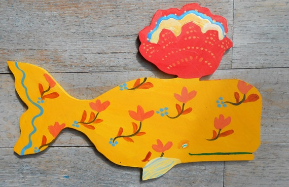 Odelette Provence Yellow Wood Whale sign