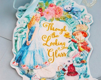 Alice Through the Looking Glass Wonderland Set of Six Double Sided Glittered Tags with Satin Ribbon