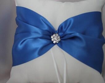 White or Cream Ring Bearer Pillow with Royal Blue Satin Ribbon- Rhinestone Embellishment