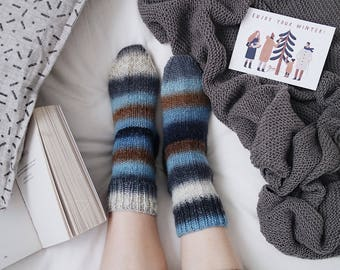 Cosy Home Socks, Nordic Forest Rustic Socks, Winter Essentials for Women