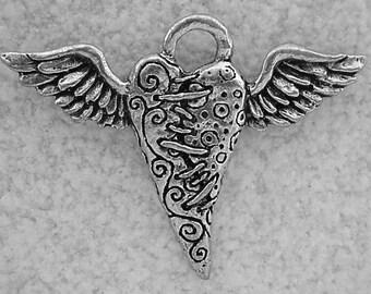 Green Girl Studios Pewter Flying Heart Pendant