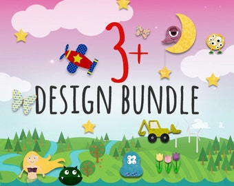 3-4 PDF Iron on Transfer / Applique Pattern Bundle  - Kids Summer Shirt / Mustache Applique / Bowling Birthday Party / Monster Quilt Pattern