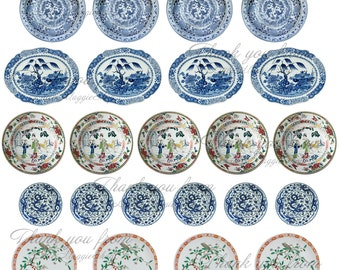 Dollhouse printable plates 112 Barbie dolls Chinese porcelain DOWNLOAD  sc 1 st  Etsy & Easter Dollhouse printable plates and boxes 1:12 \u0026 Barbie