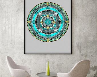 "Original Drawing - Folk Mandala 2 - 8.5x12"" up to 24x34"" Art Print, Wall Decor, Illustration"