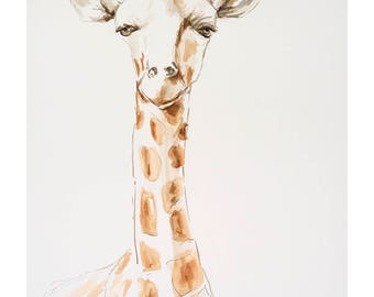 A4 Limited Edition archival giclee print from original watercolour/watercolour ink painting drawing. Baby giraffe Kenya Africa