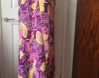 60's style maxi dress size 18 purple/pink/yellow