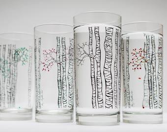 Birch Tree Glasses - Set of 4 Personalized Birch Trees Glassware, Birch Tree Themed Wedding, Personalized Wedding, The Four Seasons Glasses