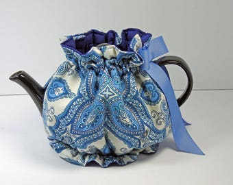 Blue Paisley Snuggie Tea Cozy,  with Bottom - 4 cup teapot / Ruffle design tea cozy / teapot cozy / tea cozy / teapot cosy / tea cosy