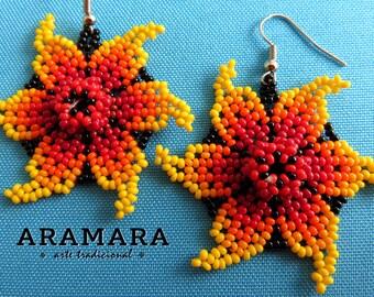 Mexican earrings, Native american earrings, Mexican Jewelry, Huichol Earrings, Mexican folk art, Beaded Flower, Flower Earrings, AF-0165