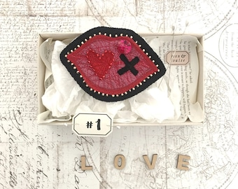 Kiss #1 ~ a hand-stitched and embellished ooak felt lips-shaped badge or patch, a token of love for your Valentine