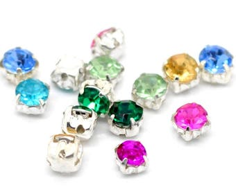 Set of 50 rhinestone set, multicolored, sewing or put on 4.5 mm