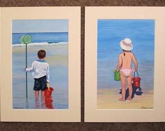 Pair 2 x Original Paintings boy girl child children on beach seaside A4 with cream mount/ matt Art
