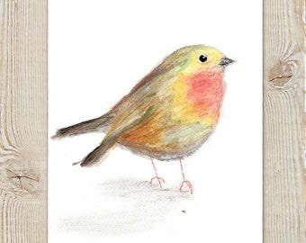Little Bird Wren Watercolour Painting Instant Download Printable