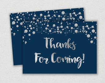 Navy & Silver Party Favor Tags / Thank You Tags / Glitter Baby Shower / Confetti / Faux Silver Glitter / Baby Boy / INSTANT DOWNLOAD A158