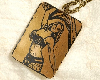 Sheena Necklace - Etched Fused Glass on Bronze Jewelry