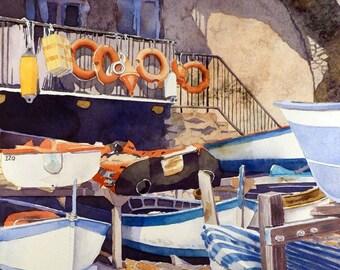 Italian, Boat,Dry dock, Travel, Art Print, Manarola, Italy, Romantic love, Nautical art, Travel art, Ocean art print, Watercolor painting