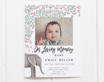 Children Funeral Program Template Child Funeral Program Template Floral Elephant Memorial Service In Loving Memory