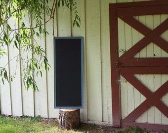 CUSTOM ORDER Large Magnetic Chalkboard  Slate Blue Grey Frame 55 x 22 in. - Magnetic Board - Magnet Board - Vintage Style Chalkboard