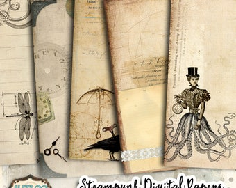 STEAMPUNK digital papers scrapbook - journal art bookmaking pages - Background stationery embellishment craft instant download print - pp417