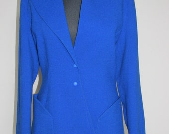 80s Thierry Mugler vintage wool electric blue jacket UK 12 size M couture designer glamourous