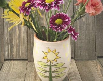 Bright Sunflower Vase, wheel thrown vase, pottery vase, handmade ceramic vase