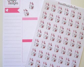 Cute Bunny Coffee Stickers!  Perfect for Erin Condren Life Planner, MAMBI/Happy Planner, Plum Planner, Etc.