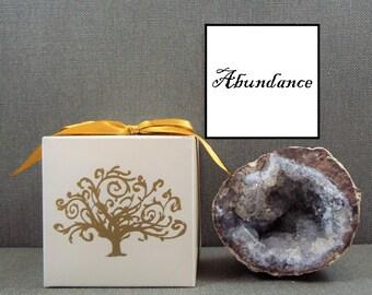 Abundance and prosperity, Geode rock crystal, Affirmation rocks, High vibration crystals, Positive affirmation cards, High vibration stones