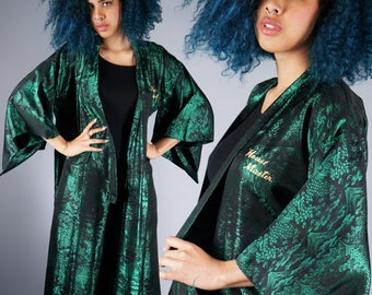 Black Green Chinese Embroidered Robe House Master