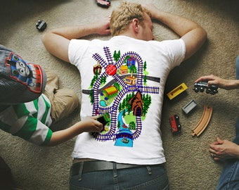 Colorful Train Play Mat Tshirt , TRAIN SET INCLUDED, Fathers Gift, Tshirt For Dad
