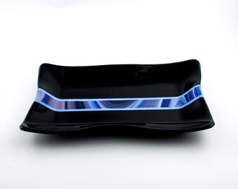 Glass Serving Tray, Fused Glass Platter, Serving Dish, Black and Blue, Modern Design, Kitchen Accessories, Rectangular Tray, Unique Gifts
