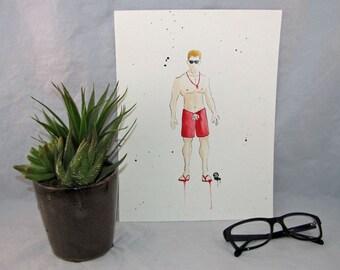Ocean| Lifeguard| Wall Art| Original Painting| Watercolor| Modern Art| Minimalist Art | Gift for Her| Gift for Mom| Water| Sea| Swimming