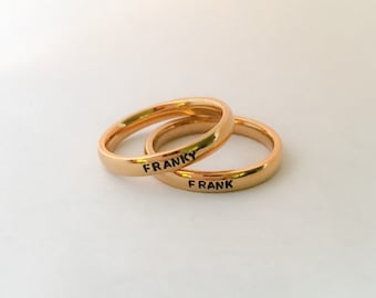 Personalized Stacking Ring, Stainless Steel Ring, Custom Name Ring, Hand Stamped Ring, Stackable Name Ring